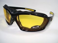 Choppers Men's Wind Resistant Unisex Sunglasses Goggles Sports Motorcycle Yellow