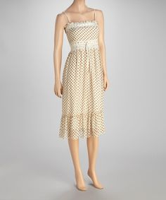 Take a look at this Cream & Brown Polka Dot Dress by Papillon Imports on #zulily today!