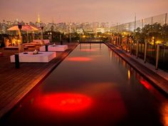 The rooftop pool at the Hotel Unique in Sao Paulo, Brazil, is far from average. It's crimson red and equipped with an underwater sound system as well as a lounge that offers amazing views of the city's skyline.