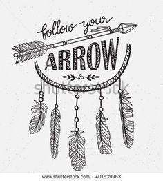 Boho template with inspirational quote lettering - Follow your arrow. Vector ethnic print design with dreamcatcher. - stock vector