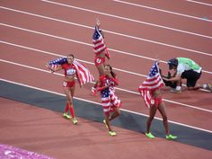 Saturday 11th August. Olympic Stadium. The USA Women win gold in the 4 x 400m.