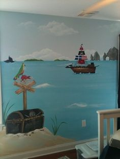 PJ and Olivia's Mermaid & Pirate Adventure - traditional - kids rooms - new york - © Murals and more by Patrice- Children's Murals