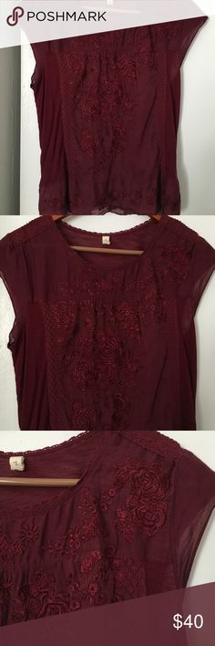Anthropologie Blouse Gorgeous lightweights blouse with rose pattern Anthropologie Tops Blouses