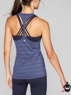stripe mesh chi tank in rain check (or black, or dusty plum), athleta, size L. $44