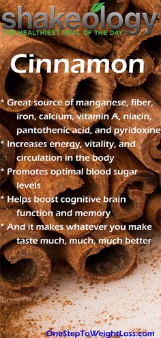 Cinnamon will increase your energy, vitality, circulation in the body, and much more. increase energy the body Shakeology Benefits, Shakeology Nutrition, Beachbody Shakeology, Nutrition Tips, Healthy Facts, Healthy Life, Healthy Living, Healthy Recipes, Moringa Recipes