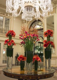 We stopped by The Plaza Hotel this weekend to snap shots of the beautiful red-orange Amaryllis, Calla Lily and Ilex Berry table.