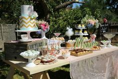 Vintage Rustic Garden themed birthday party with Lots of Really Cute Ideas via Kara's Party Ideas | Full of decorating tips, cakes, cupcakes...