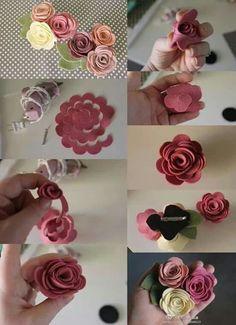 Bellart Atelier: 6 footsteps of felt flowers Paper Flowers Craft, Giant Paper Flowers, Paper Roses, Felt Flowers, Flower Crafts, Diy Flowers, Fabric Flowers, Flower Svg, Diy Home Crafts