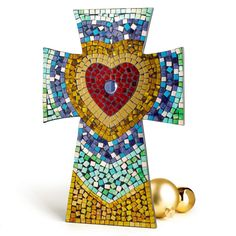 Mosaic Heart Cross is shimmery and intricate