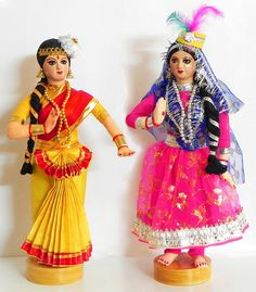 Indian Classical Dancers - Kathak and Mohiniattam - Costume Cloth Dolls