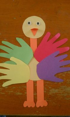 "Handprint ostrich (my copy)... I cut all pieces and traced their hands. They glued pieces together. Can also ""fan"" legs. #crafts #ostrich #preschool"