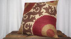 Suzani Print 20x20 Pillow Cover in Fahri Clove Deep Red, Rust, Chocolate Brown, Gold, Khaki. 45.00, via Etsy.
