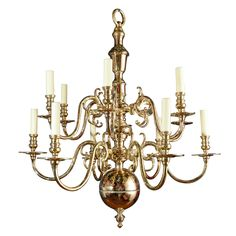 Brass Two Tiered 12 Light Chandelier