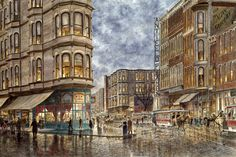 Dinner Hour, San Francisco, Ellis & Market St - Canvas Print by Stanton Manolakas