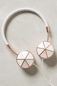 Interchangeable Enamel Headphone Caps - anthropologie.com ($40.00) -- #FRENDS Layla #Headphones with Mother of #Pearl Caps.