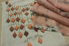 Aari work on chudidhar Top/ making elegant designs on chudidhar /kurti fabric Hand Embroidery Patterns Flowers, Hand Embroidery Videos, Embroidery Stitches Tutorial, Embroidery Flowers Pattern, Hand Embroidery Designs, Beaded Embroidery, Floral Embroidery, Indian Embroidery, Embroidery Ideas