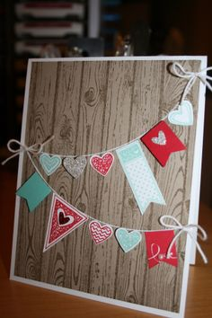 Stampin Up! Language of Love, Hardwood Background & Banner Blast stamp sets. 2014 Occasion Mini Catalog.
