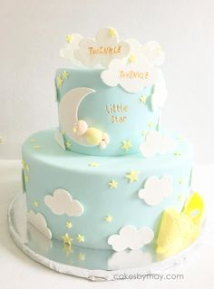 IT IS IMPORTANT YOU LET US KNOW THE NEED BY DATE TO MAKE SURE ITEM IS DELIVERED ON TIME. This sweet Twinkle Twinkle Little Star Cake Topper is perfect for a baby shower or any other baby celebration. This listing includes: - Baby sleeping on the moon (moon approx. 3.5 tall) - Clouds