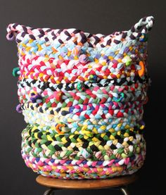 DIY Braided Basket. Made from old t-shirts. - Use brown or dye, to keep sticks in for wood stove.
