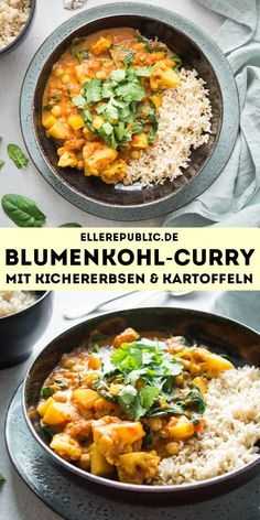 A healthy and easy recipe for a cauliflower-potato curry in a rich tomato sauce with chickpeas and spinach. You can also replace the spinach with another leafy green, such as chard or kale. Simple Healthy Recipes – Elle Republic by ellerepublic Healthy Vegetarian Breakfast, Clean Eating Vegetarian, Vegetarian Recipes Dinner, Dinner Recipes, Vegetarian Food, Healthy Indian Recipes, Healthy Crockpot Recipes, Recetas Whole30, Cauliflower Potatoes