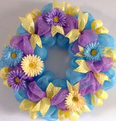 Deco Mesh Ribbon Wreath Spring Summer Everyday Turquoise, Orchid, And Yellow