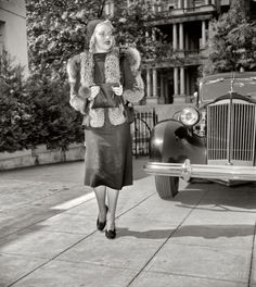"""Lush Life: 1937. Washington, D.C., circa 1937. """"Jane Grier."""" Pictured with a Packard near the old State, War and Navy building. Harris & Ewing Collection. Shorpy.com"""