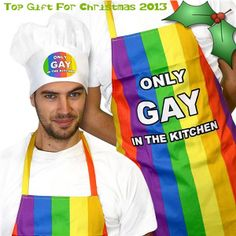 Only Gay In The Kitchen Apron and Hat makes it known that there is only one gay in this kitchen. Show your true colours with this flamboyant rainbow set. Up To OFF Sale. Kitchen Aprons, Kitchen Gifts, Kitchen Products, Novelty Gifts For Men, Novelty Aprons, Gay Best Friend, Coming Out Party, Funky Gifts, Bbq Apron