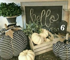 See my favorite farmhouse fall decor ideas. Part one is all about fall home decor inside. DIY fall decor for anyone! Thanksgiving Decorations, Seasonal Decor, Holiday Decor, Fabric Pumpkins, Fall Pumpkins, White Pumpkins, White Pumpkin Decor, Fall Home Decor, Autumn Home