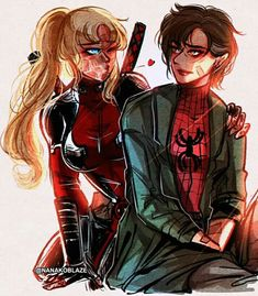˗ˏˋ Spideypool: Into The Spiderverse ˎˊ˗ Lady Deadpool, Deadpool Y Spiderman, Avengers Girl, Marvel Girls, Spideypool, Female Spiderman, Spider Art, Iron Man Wallpaper, Cartoon As Anime