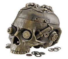 Steampunk Skull Containment Vessel - Celebrate the adventurous spirit of the age of Steampunk with our industrial age skeleton containment vessel that flips its Victorian skull lid to hold your vintage treasures! Casa Steampunk, Design Steampunk, Style Steampunk, Steampunk Theme, Steampunk Halloween, Steampunk Gears, Steampunk Crafts, Steampunk Artwork, Steampunk Gadgets