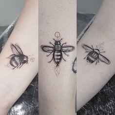 A Bee's Life. The life of bee is depicted in this tattoo.