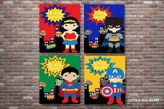 On Sale Bathroom Rules Superhero Bathroom Art by CottageArtShoppe
