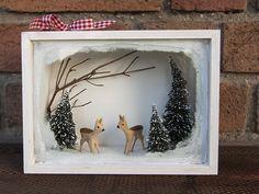 Winterwald Diorama mit handgeschnitzten Rehen von WohnzeugS auf DaWanda.com