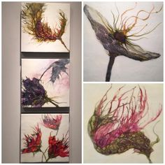 My garden is in bloom. These are a few little darlings from my show. I work spontaneously and intuitively so I never know what the final image will be until it's completed.  These #botanicals surprised me. On view now at #HallSpassovGallery  #fineart #encaustic #aliciatormey #artgallery