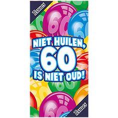 Leuk voor een verjaardag. Tissuebox 60 is niet oud. Een tissuebox van karton met de tekst: Niet huilen, 60 is niet oud. Incl. tissues, aantal ca. 50-75. De afmeting is ca. 22 x 11 cm.