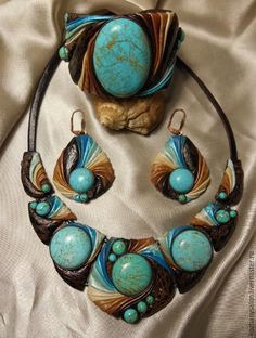 """Купить Комплект """"Бирюзовый вечер"""" - разноцветный, комплект украшений, украшения ручной работы"""