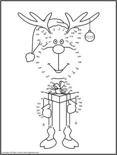 cute reindeer dot to dot