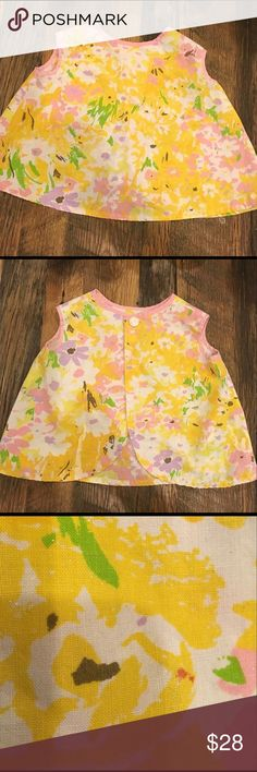 """Vintage Spring Art Smock or Top 2T Spring smock. Small flecks of paint throughout from use (see last pic). Not noticeable when worn IMO. We did not get around to wearing this beauty. Could be used as an art smock, top or dress. Measures 13 and a half """" sth. Size 18-2T Vintage Shirts & Tops"""
