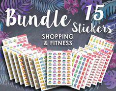 15 Shopping Bundle Printable Sticker: FITNESS by SquirrelPlanner