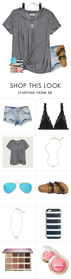 """lol kinda weird story"" by lydia-hh ❤ liked on Polyvore featuring Bershka, Monki, Abercrombie & Fitch, Kendra Scott, Ray-Ban, Birkenstock, J.Crew, tarte and Maybelline"
