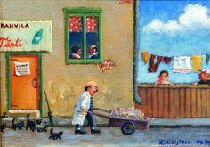 Reijo Kivijärvi - Kalakauppias Sallinen / Fishmonger Sallinen Finland, Fine Art, Painting, Painting Art, Paintings, Visual Arts, Painted Canvas, Drawings