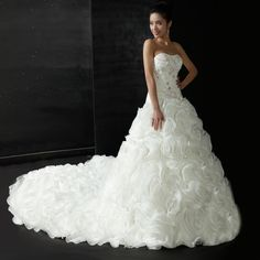 Strapless A-Line Rosette Wedding Dress with Color Print