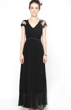 Black V-neck Lace Cap Sleeve Beading Pleated Long Chiffon Dress