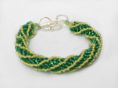 Spiral Beaded Bracelet  Green and Yellow  by HalesBeeHandmade