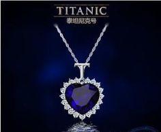 Titanic Heart of the Ocean Sapphire Pendant. Skull, Biker, Men, Women, Accessory, Jewelry, Fashion.