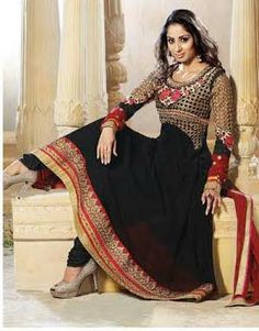 Black Designer Georgette Anarkali with heavy work of Embroidery en-crafted on the top and the Bottom. Along with Matching Shantoon Bottom and Chiffon Duppatta.