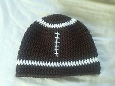 Found a crochet pattern for a football beanie on Ravelry!