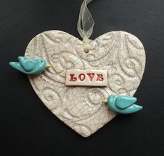 Ceramic Love heart with two birds