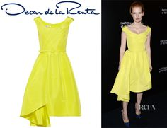 Jessica Chastain's Oscar de la Renta Silk-Faille Dress