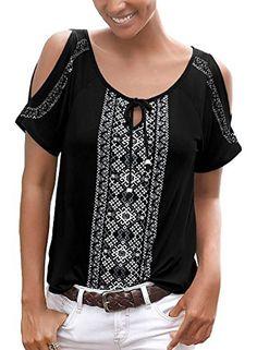 fc001ef0cf7 Chase Secret Womens Floral Print Cut Out Shoulder Short Sleeve T Shirt Tops  Blouse (S